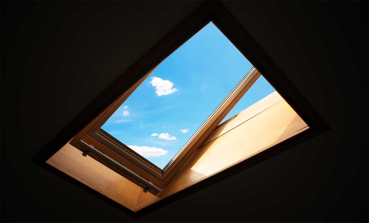 Open roof window skylight